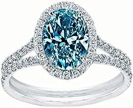 Blue oval center diamond 251 carats wedding anniversary ring white gold 14K