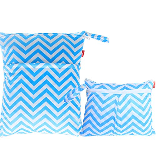 damero-2pcs-pack-travel-baby-wet-and-dry-cloth-diaper-organiser-bag-blue-chevron