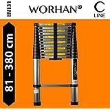 WORHAN® Echelle 3.8m Télescopique PRO Aluminium Anodisé Solide Extensible 380cm (......3.8m C-line) 1K3.8C