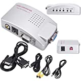 HDE Computer PC Laptop to TV Converter Box- VGA to RCA S-Video Composite Adapter Switch