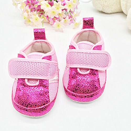 Toddlers Prewalker Kids Anti Skid Shoes Cute Breathable Mesh Paillette Sneakers (13(12-18 Months), Pink)