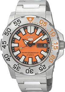 Seiko Men's SNZF49 Seiko 5 Automatic Orange Dial Stainless-Steel Bracelet Watch