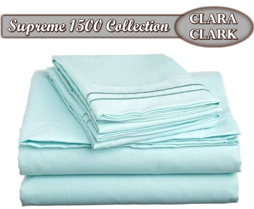 Clara Clark ® Supreme 1500 Collection 4Pc Bed Sheet Set - Full (Double) Size, Light Blue Aqua