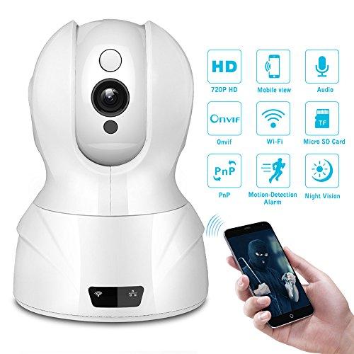 Milool Wireless IP Kamera 1MP Überwachungskamera 1280 * 720 (1MP)Plug und Play Video Überwachung Pan/Tilt mit 2-Wege Audio Netzwerk Kamera Night Vision Motion Detection Micro SD Karte bis zu 64 GB Weiß
