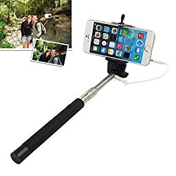 Selfie Stick (battery free, no bluetooth) extendable wired self-portrait monopod for iOS and Android smartphones-Black. This Selfie Stick does not require any charging and plugs into the audio jack of iPhone SE/6S/6 plus/6S Plus/5S/Galaxy S7/Galaxy S7 Edg