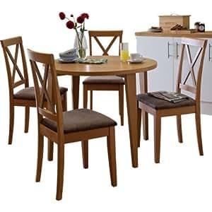 Essentialz Claremont Oak Round Dining Table 4 Cross Back
