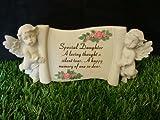 Daughter Cherub Scroll Flowers Memorial Garden Stone Grave Ornament