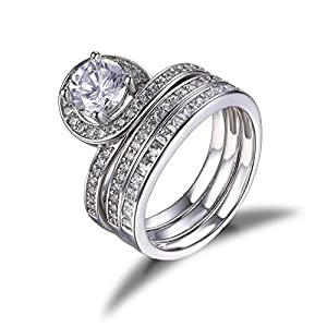 Jewelrypalace Women's 1.4ct Cubic Zirconia 925 Sterling Silver Wedding Anniversary Engagement Bridal Set Ring