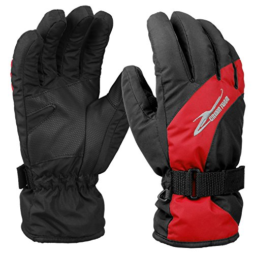 Ski Gloves, Hicool Waterproof Insulated Gloves Thicken Gloves for Skiing, Motorcycle, Riding and More Outwork during the Cold Weather (Black/Red, Medium)