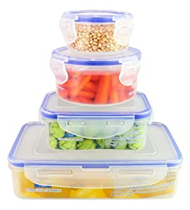 8-Piece Set - Air Tight Plastic BPA Free Food Storage Containers with Leak Proof Locking... by ChefLand