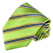 84503 LORENZO CANA Luxury Italian Pure Silk Woven Handmade Tie Green Blue Gold Stripes