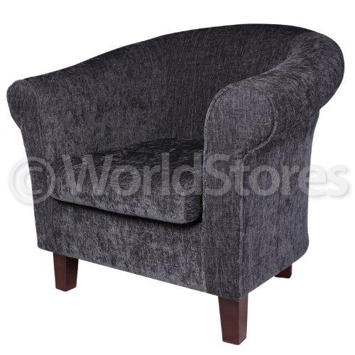 Grey Charcoal Tub Chair Soft Fabric Scroll Arm Living Room Armchair