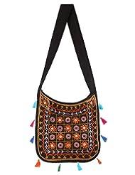 Rajrang Stylish Cotton Embroidered Circles Black Sling Bag