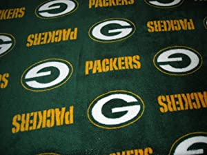"""Green Bay Packers Ultra Cuddle Minkee Fleece (58"""" Wide) NFL Fleece for Stadium Blanket, No Sew Quilts, Jammie Pants, Fringed Throws - 1 Yard Cut"""