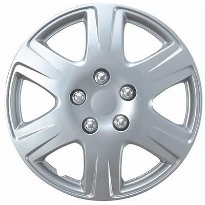 """OxGord WCKT-993-15-SL Wheel Cover/Hub Cap, Silver/Lacquer, 15"""""""