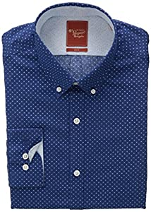 Original Penguin Men's Slim Fit Navy Polka Dot, Azure, 15.5-34/35