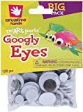 Creative Hands by Fibre-Craft - 5-30mm Black Glue-On Googly Eyes - Teaches Creativity - Multipurpose - 120 Pack