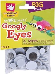 Fibre Craft 120-Pack Glue-On Googly Eyes Assortment, 5-30mm, Black