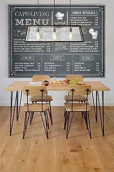 MY-Furniture - Table de salle à manger Industrielle en chêne massif et acier - FELIX