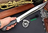 CFK Cutlery Company USA - IPAK DESTROYER - Custom Handmade D2 Tool Steel Micarta Bushcraft MACHETE Hunting Knife with Leather Belt Sheath & Fire-Starter Rod Set CFK96