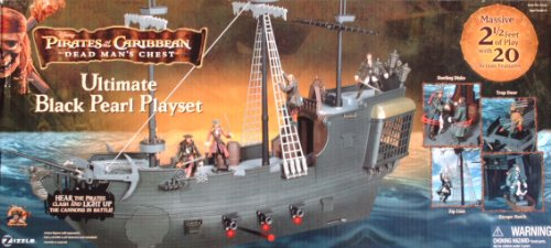 Buy Low Price Zizzle Pirates of the Caribbean Dead Man's Chest ULTIMATE BLACK PEARL SHIP Playset for 3.75 inches tall Action Figure (2006 Zizzle) (B0052180AE)