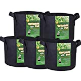 VIVOSUN 5-Pack 5 Gallons Fabric Pots Grow Bags with Handles