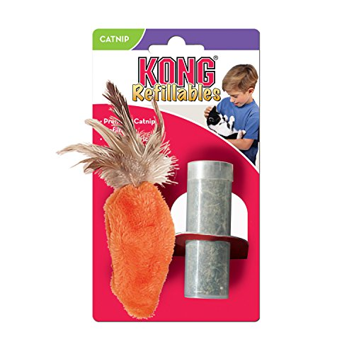 Kong Dr Noys Feather Top Carrot - Cats With An Attitude Catnip Toy (NH4)
