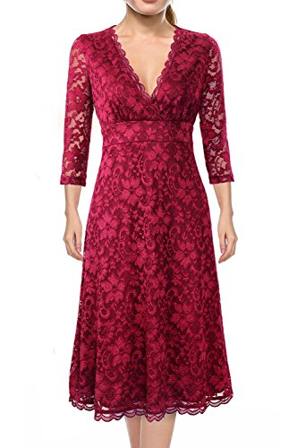 Dresses For Women Party,Miurus Women's Retro Elbow Sleeve Zipper Scalloped Vneck Formal Lace Dress 2XL Burgundy