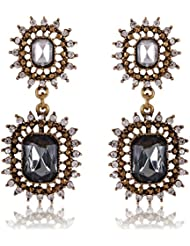 Cinderella Collection By Shining Diva Golden & Gray Crystal Stylish Fancy Party Wear Hanging Earrings For Girls...
