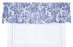 Victoria Park Toile Tailored Valence Window Curtain Blue Home Kitchen