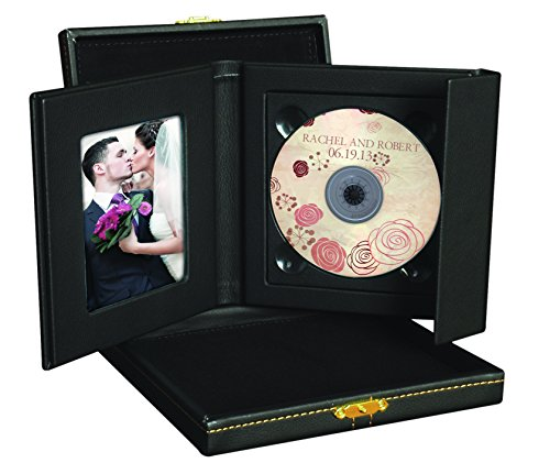 Supreme Black CD/DVD Holder w/ Leatherette Presentation Box (Gold Clasp, 1 Disc)