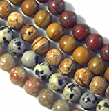 "Jasper Natural Gemstone 6mm Bead Mix (5) 15"" Loose Strands One Strand Each Autumn, Dalmatian, Tiger, Picture and Red Sesame Jasper"