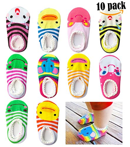 Bassion 10 Pairs (Random Colors) Non Slip Baby Socks for 6-18 Months, Cute Baby No Show Socks Newborn Socks Toddler Socks Infant Socks, Baby Anti Skid Socks Color in Socks Baby Shoes Socks for Babies