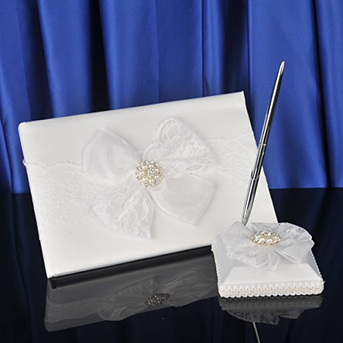 Topwedding Beige Satin Guest Book and Pen Set with Pretty Ornament