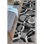 "Rugshop Contemporary Modern Circles Area Rug Abstract Runner, 2 x 72"", Gray"