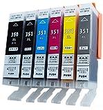 [ZAZ] BCI-351XL+350XL/6MP canon 互換インク ICチップ付 残量表示可能 [ BCI-351+350/6MP の増量版] 6色1セット(計6個) 対応機種: PIXUS MG7130 MG6530 MG6330 MG5530 MG5430 MX923 iP8730 iP7230 iX6830 FFPパッケージ(J)