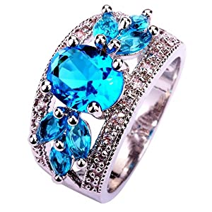 YAZILIND Women's Ring with Oval Cut Blue White Alloy UK Size S