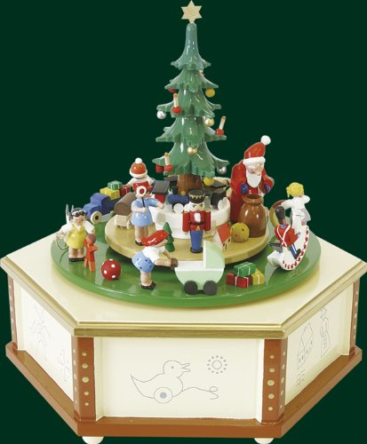 Natural Wood German Music Box Santa with Christmas Gifts, 9.6 Inches