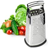 Box Grater, 4-Sided Stainless Steel Large 10-inch Grater for Parmesan Cheese, Ginger, Vegetables