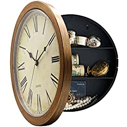 Magho Plastic Wall Clock With Secret Compartment as Hidden Safe for Money Jewelry Stashing