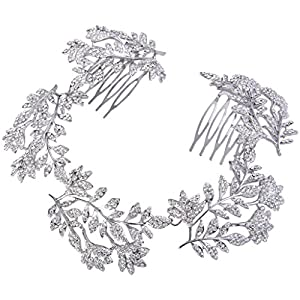 Ever Faith Silver-Tone Austrian Crystal Floral Leaf Elegant Bridal Double Hair Comb Tiara Clear N06264-1