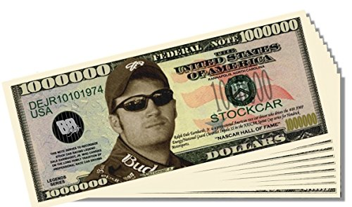 Dale Earnhardt Jr. Novelty Million Dollar Bill - 10 Count with Bonus Clear Protector & Christopher Columbus Bill