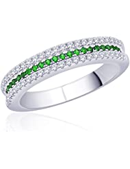 Diwali Gifts Peora Sterling Silver Rhodium Micro Pave CZ Green With Envy Ring (PR525G-7)