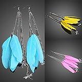 Vktech® European Style Exotic Plumage Dragonfly Girl Long Pendant Earrings Sky Blue