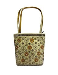 Bhamini Diamond Studded Floral Pattern Handbag (White)