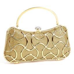 Damara Womens Geometric Minaudiere HardCase Clutch Bags,Gold