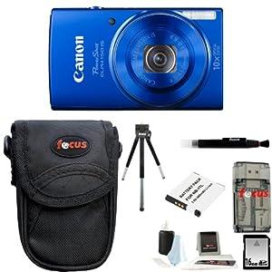 Canon PowerShot ELPH 150 IS Digital Camera (Blue) + 16GB Memory Card + All in One High Speed Card Reader + Standard Medium Digital Camera Case + Accessory Kit