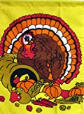 Turkey Cornucopia Thanksgiving Garden Flag