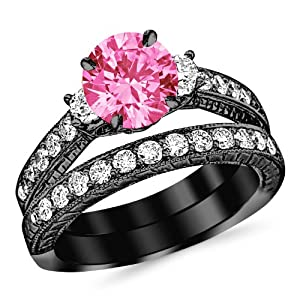 2.03 Carat 14K Black Gold Three Stone Vintage With Milgrain & Filigree Bridal Set with Wedding Band & Diamond Engagement Ring with a 1 Carat Natural Pink Sapphire Center (Heirloom Quality)
