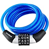 Wordlock CL-454-BL Non-Resettable Combination Cable Lock, Blue, 4-Feet